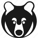 animal, bear, brown, head icon