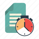 clock, file, planner, review, schedule, scheduler, time icon