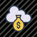 bag, cloud, database, dollar, money