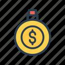 clock, dollar, money, timer, watch icon