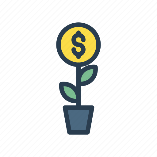dollar, finance, growth, nature, plant icon