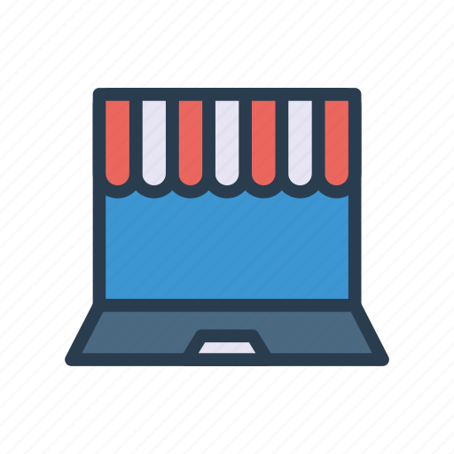 ecommerce, laptop, online, shopping, store icon