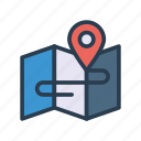 direction, location, map, pin, position icon