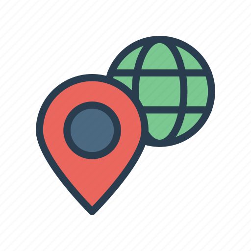 location, map, pin, position, world icon