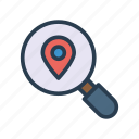location, magnifier, map, position, search icon