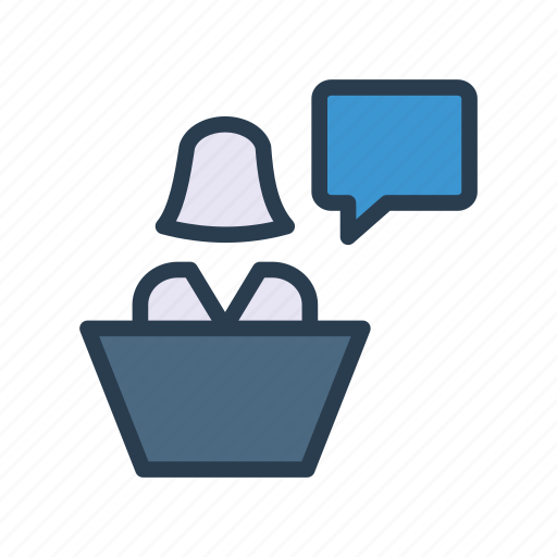 employee, office, reception, table, user icon