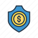 dollar, protection, safety, security, shield icon