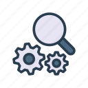 configuration, gear, magnifier, search, setting icon