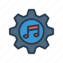configuration, gear, music, option, setting icon