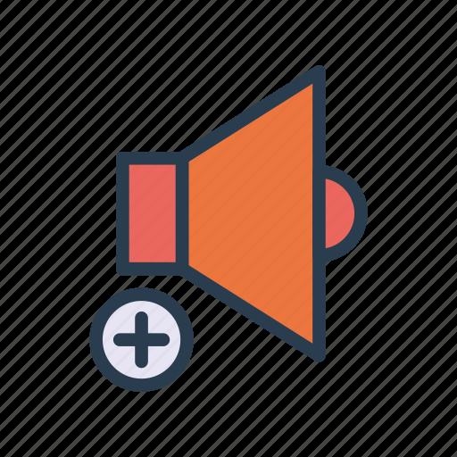 add, music, sound, speaker, volume icon