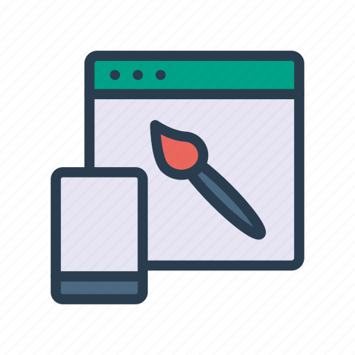 browser, brush, internet, paint, webpage icon