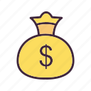 cash, finance, money, money bag icon