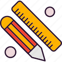 math, pencil, ruler
