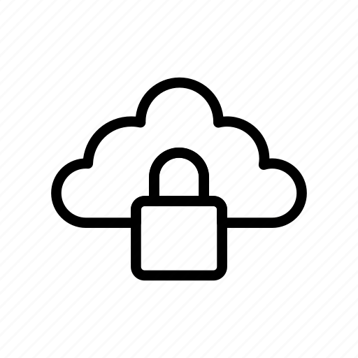 cloud, lock, protection, secure, server icon