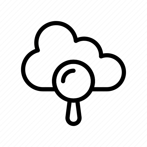 cloud, find, magnifier, search, server icon