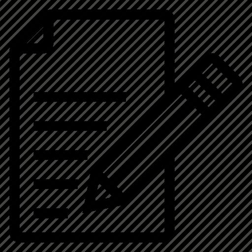 content, edit, paper, pen, pencil, text, write icon