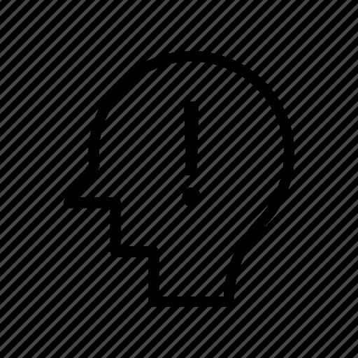 alert, brain, error, mind, warning icon