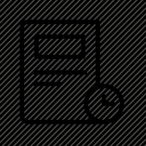 article, clock, newspaper, press, schedule icon