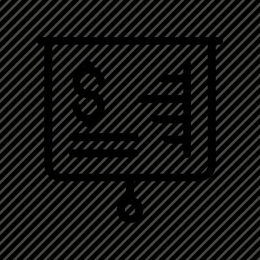 board, chart, dollar, graph, presentation icon