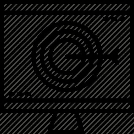 computer, digital, goal, line, marketing, target icon
