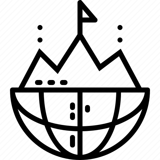 entry, globe, goal, line, mountain, pin, target icon
