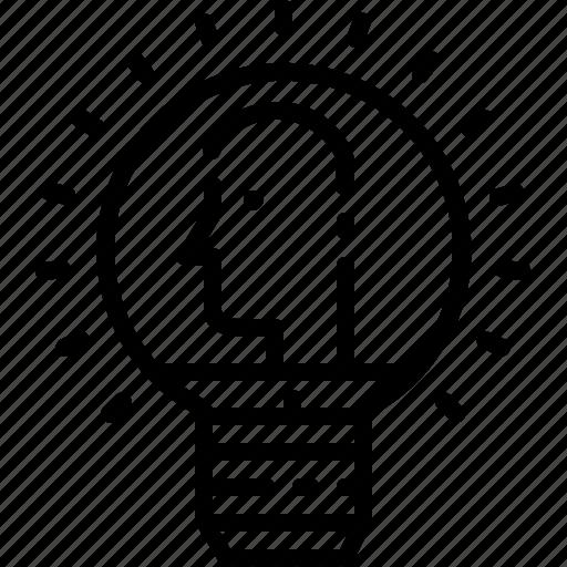 human, ideas, lightbube, line, people icon