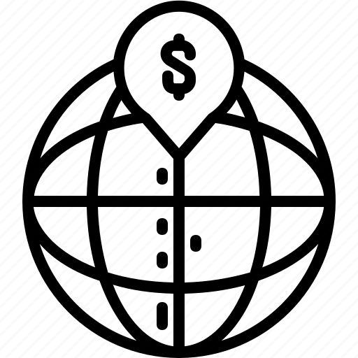 dollar, globe, line, money, pin, world icon