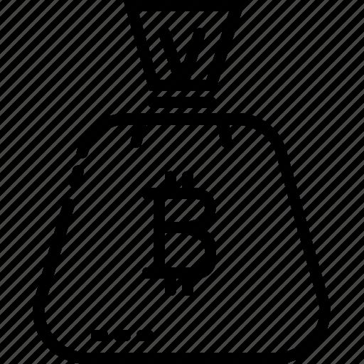 bag, bitcoin, coin, digital, line, money icon