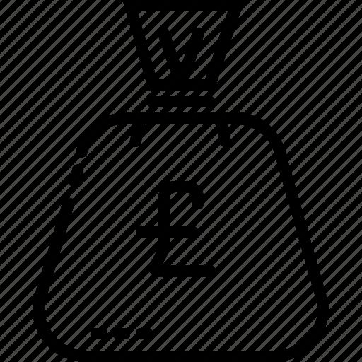bag, dollar, line, money, uk icon