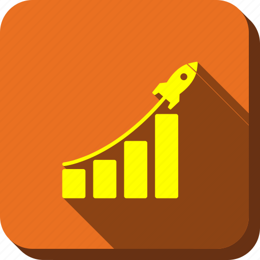 analytics, bar chart, business project, report, rocket launch, success startup, venture company icon