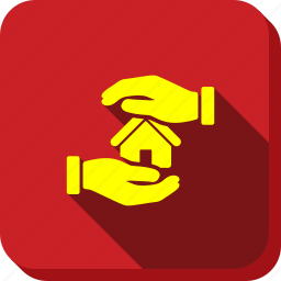 architecture, building, care, hands, home, house, realty insurance icon