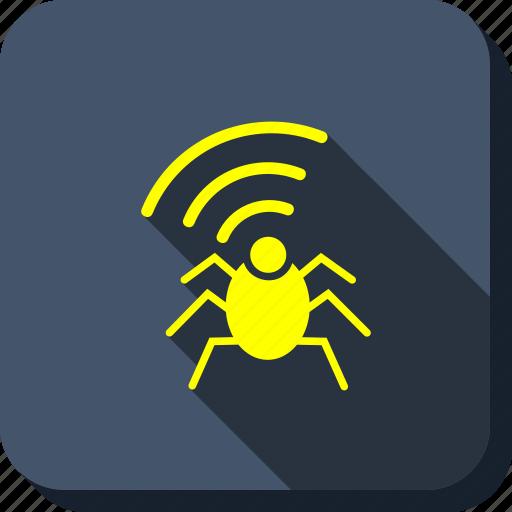antenna, equipment, radio bug, security, signal, virus, warning icon