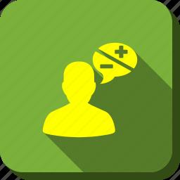 arguments, bubble, chat, communication, dialog, forum, person icon