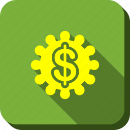 bank service, dollar, financial tools, gear, money, options, settings icon