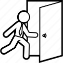 business, close, door, escape, escaping, exit, logout icon