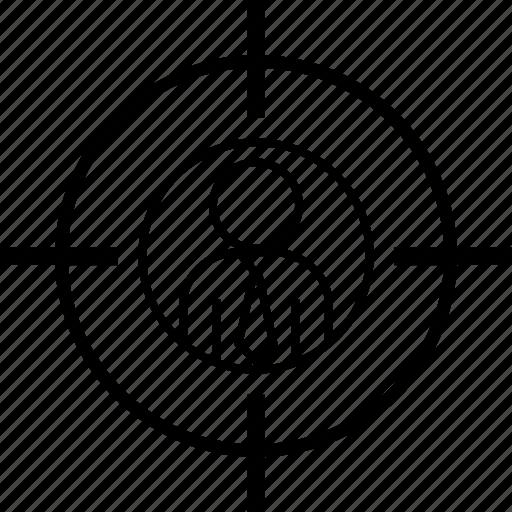 aim, businessman, crossair, headhunter, recruitment, target icon