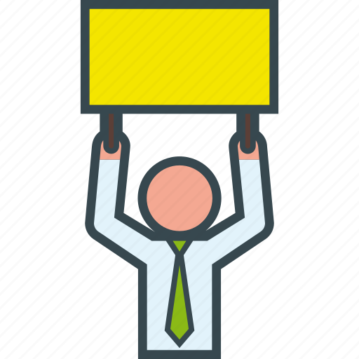 ad, advertising, board, businessman, cardboard, sign icon