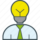 bulb, business, clever, head, idea, man icon