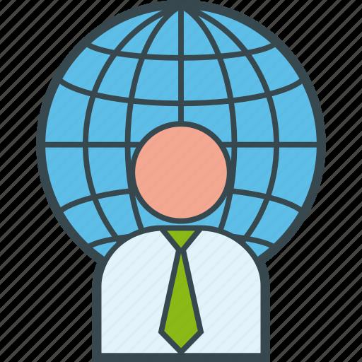 business, global, international, man, world icon