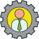 business, gear, job, man, work icon