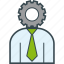 business, gear, head, job, man, work icon