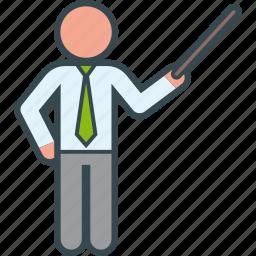business, education, man, pointer, teacher icon