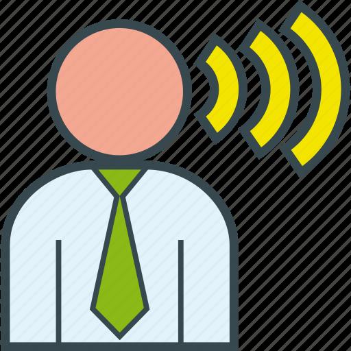 boss, businessman, order, shout, speech, talk icon