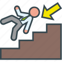 career, down, executive, fall, stairs, work icon