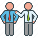 business, congratulate, hand, job, partner, shoulder icon