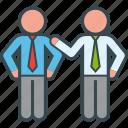 business, congratulate, hand, job, partner, shoulder