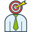 arrow, businessman, headhunter, recruitment, target icon