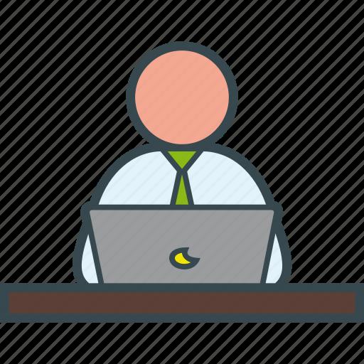 business, job, laptop, man, work, working icon