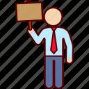 ad, advertising, board, cardboard, man, sign icon