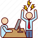 anger, angry, bad, boss, employee, fury, rage icon